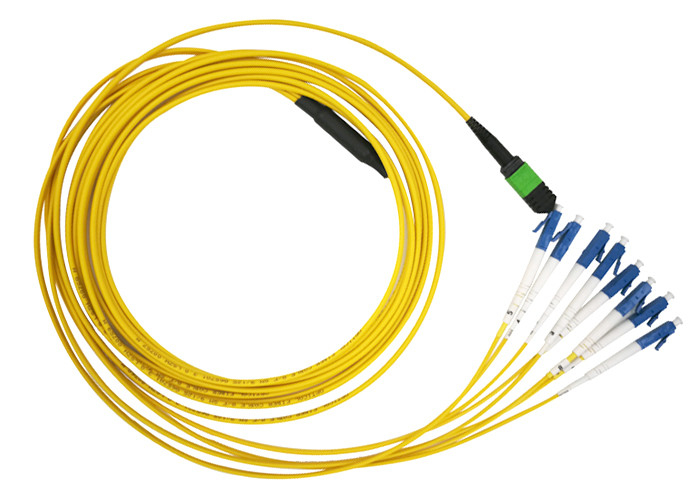 MTP MPO SM 12 LC Fiber Optic Patch Cord Single Mode LSZH  G657A2 Resistant to bending